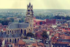 Old photo with aerial view of Bruges 1 Stock Photo