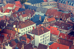 Old photo with aerial view of Bruges Royalty Free Stock Photography