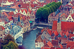 Old photo with aerial view of Bruges 2 Stock Photos
