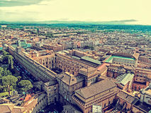 Old photo with aerial view from the cupola of Vatican Papal Basilica. ROME, ITALY - JUNE 1, 2017: Old photo with aerial view from the cupola of Vatican Papal royalty free stock photos