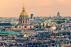 Old photo with aerial view of Dome des Invalids, Paris, France Royalty Free Stock Photography