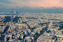 Old photo with aerial view, from Montparnasse tower 1 Royalty Free Stock Images