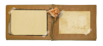 Old photo album with beautiful dried rose Stock Images