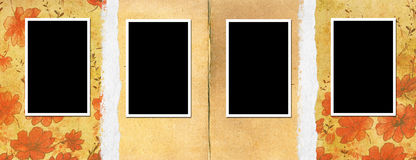 Old photo album page. 4 frames Stock Photos