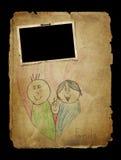 Old photo album page. Kid art Stock Photo
