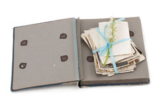 Old photo album with photos. royalty free stock photos