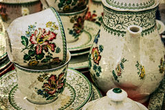 Old photo with ancient pottery 5 royalty free stock photography