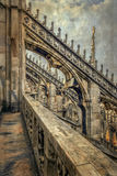 Old photo with architectonic details from the famous Milan Cathedral, Italy stock image