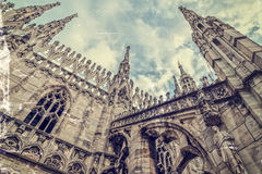 Old photo with architectonic details from the Milan Cathedral, I Stock Images