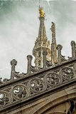 Old photo with architectonic details from roof of the Milan Cath Stock Images