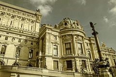 Old photo with architectural details of Opera National de Paris Stock Images
