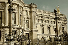 Old photo with architectural details of Opera National de Paris Stock Image