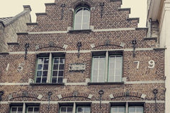 Old photo with architectural facade detail at one old building p Royalty Free Stock Images