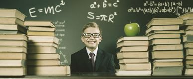Old Photo Of Back To School, September. Your School Boy stock image