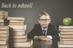 Old Photo Of Back To School, September. Your School Boy royalty free stock image