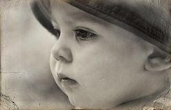 Old photo - Black and white portrait a little boy Royalty Free Stock Photography