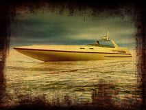 Old photo of a boat royalty free illustration