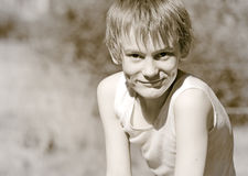 Old photo of a boy Stock Images