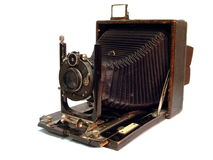 Old photo camera. Close up of an old photo camera Royalty Free Stock Photo