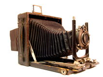 Old photo camera. Close up of an old photo camera Royalty Free Stock Photos