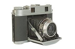Old photo camera. A rangefinder with (accordion) folding lens Stock Image