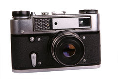 Old photo camera. Old retro vintage photo camera Royalty Free Stock Photos