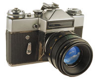 Old photo camera. Old photographic camera with lens close up Stock Photo