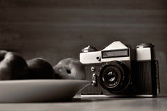 Old photo camera black and white photo Royalty Free Stock Photo