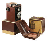 Old photo camera with box and case Stock Images