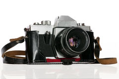 Old photo camera in cover Royalty Free Stock Photos