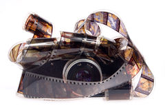 Old photo camera with film. On white background Royalty Free Stock Images