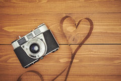 Old photo camera with film Royalty Free Stock Images