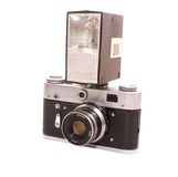 Old photo camera with flash Stock Image