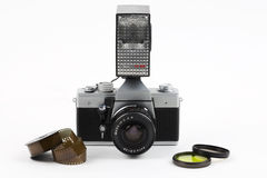 Old photo camera with flash Royalty Free Stock Images