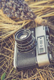 Old photo camera in a grass. Composition of lavender, sunflower and wheat Royalty Free Stock Photography