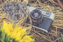 Old photo camera in a grass. Composition of lavender, sunflower and wheat Royalty Free Stock Images