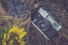Free Old Photo Camera In A Grass. Royalty Free Stock Photography - 96067627