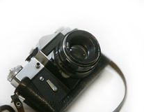 Old photo camera with lens Stock Photos