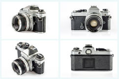 Old photo camera set isolated on white background. Royalty Free Stock Images