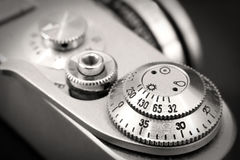 Old photo camera shutter button close up Stock Images