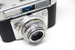 Silver camera old photo white background, reel camera stock photo