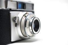 Old photo camera white background. Old photo camera, on white background. Analog photography, film photography stock photography