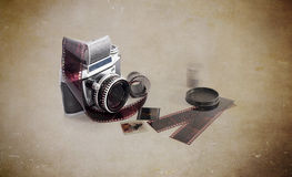 Old photo camera on white background Royalty Free Stock Photography