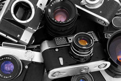 Old photo cameras Royalty Free Stock Images