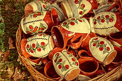 Old photo with ceramic pots Stock Photos