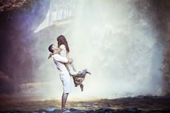 Old photo of couple travels to Bali Stock Photos