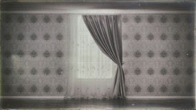 Old photo of empty room with window and curtain. Old creepy photo of empty room with window and curtain Stock Photography