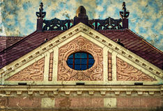 Old photo with facade on classical building. Novi Sad, Serbia Royalty Free Stock Photography