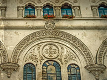 Old photo with facade detail of City Hall building from Timisoar Stock Photos