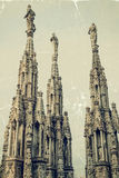 Old photo with the famous spires of Milan Cathedral, Italy Royalty Free Stock Photography